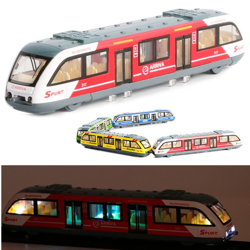 1:64 Magnetic Pull Back Alloy Connected Subway Metro Track Train Alloy Model Toy
