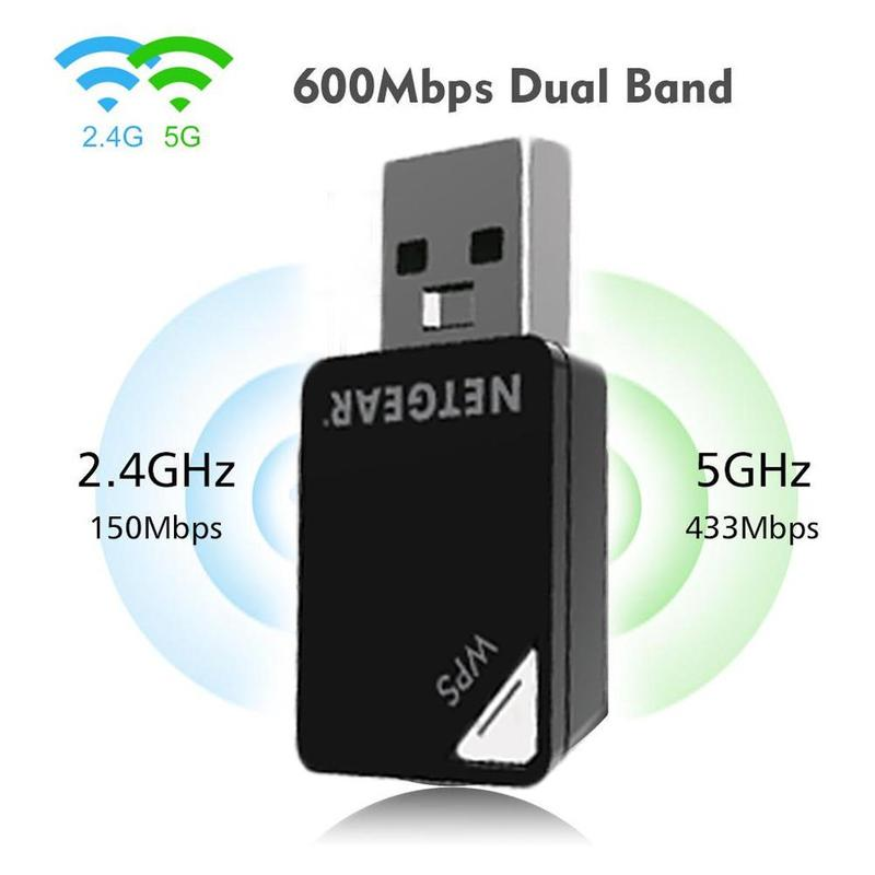2.4G/5G Wlan Dongle For NetGear A6100 MINI Dual Band USB WIFI Wireless-AC 433Mbps AC600 USB Port Wi-Fi WPS LAN Network Card