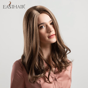 EASIHAIR Brown Synthetic Hair Wigs for Women Medium Length Middle Part Daily Natural Wavy Hair Heat Resistant Cosplay Wigs