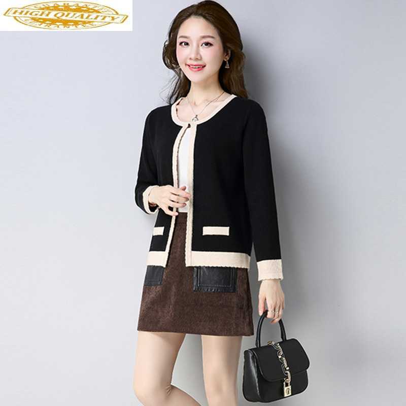 2020 Autumn Elegant Ladies Wool Cardigan Women's Sweater Vintage Loose Sweater Thick Knitted Coats Female Jacket YS803