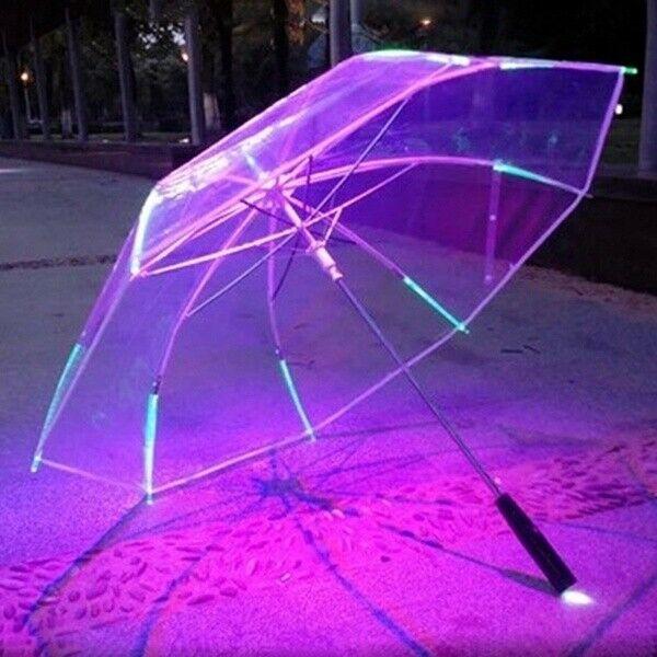 2019 Hot LED Light-Up Umbrella Variable Color Night Safety 8 Rib Light Umbrella With Flashlight Kids Cool Gift