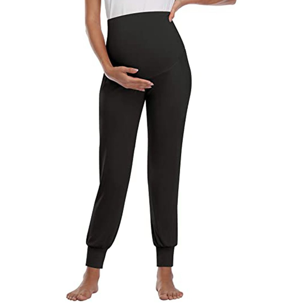 Pregnant Women Maternity Pants Solid Color Female Stretchy Pregnancy Trousers Soft Cotton Pants High Waist Clothes
