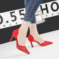 women's shoes high heels sexy red party pumps women zapatos de mujer de moda 2019 stiletto rubber lace woman sapatos NO.55 Shoes