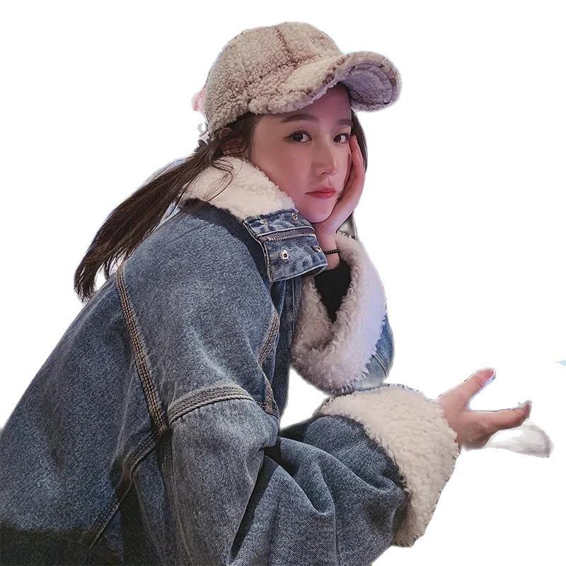 New Winter Coat Jean Jacket Lamb Hair Korean Fashion Jean Jackets For Women 2021 Loose Plus Cashmere Short Jacket