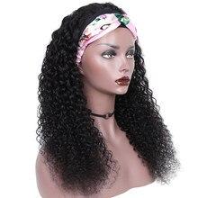 Encaracolado onda bandana peruca de cabelo humano aircabin brasileiro completo máquina feita cor natural remy perucas de cabelo para as mulheres 130% densidade