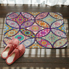 Rainbow color mandala flower floral rugs durable commercial