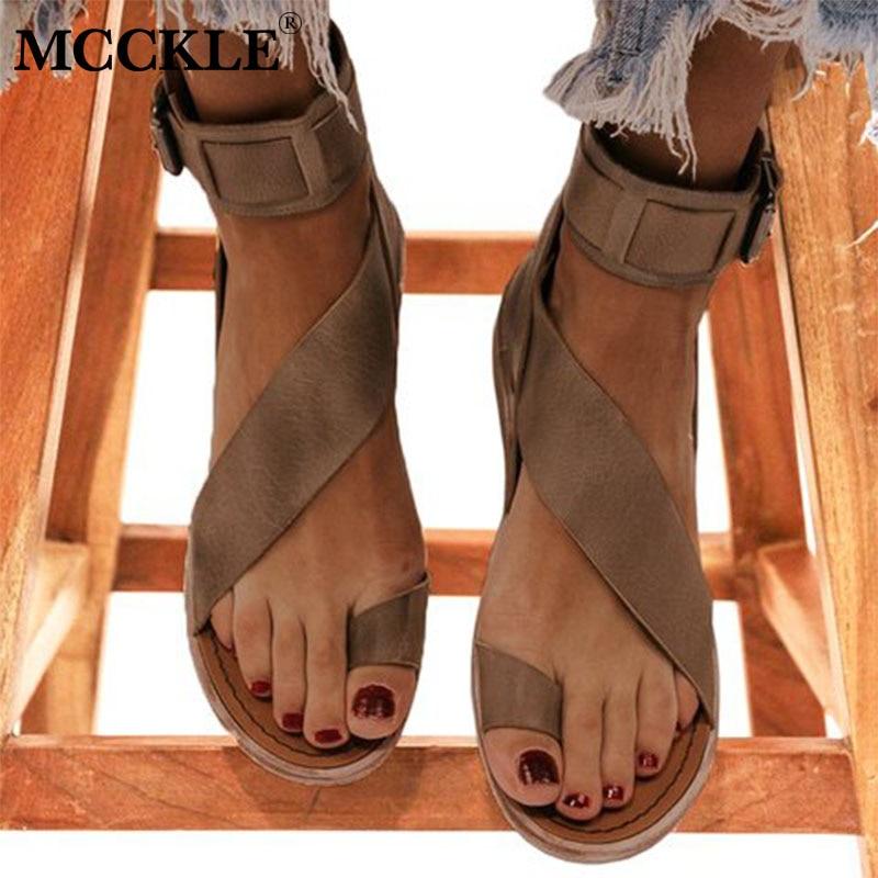MCCKLE Women Buckle Strap Beach Sandals Summer Flats Casual Shoes Woman Open Toe PU Flat Fashion Sandalias Mujer Sapato Feminino