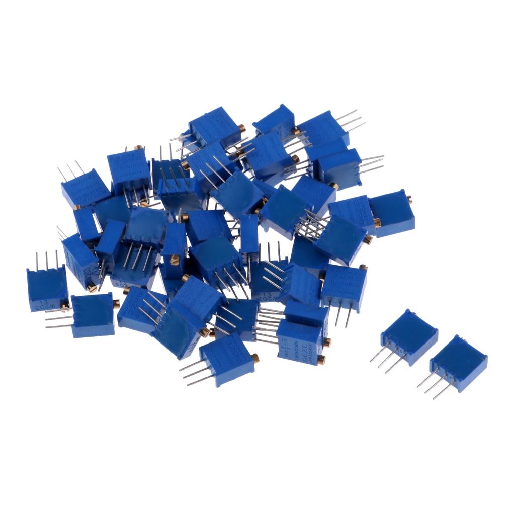 50 Pieces 3296W 10 Ohm-20K Ohm Variable Trimmer Potentiometers Resistors