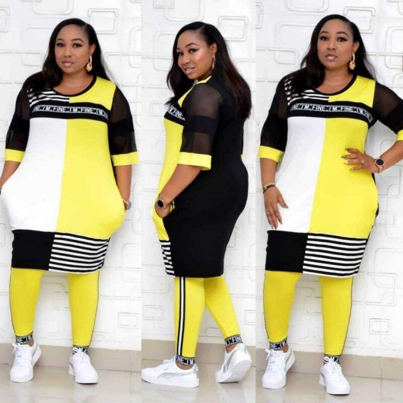 Новый комплект из обуви в африканском стиле Одежда для женщин, комплект из двух предметов с длинными топы, обтягивающие штаны, в комплекте с ...