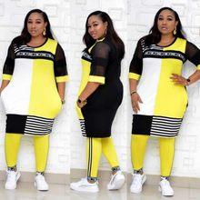 Novas roupas africanas para as mulheres conjuntos de duas peças longo topos calças magras combinando conjunto malha retalhos conjunto treino plus size 4xl 3xl