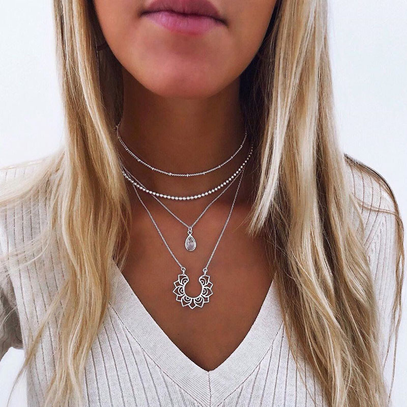 Beads Choker Female Alloy Lotus Pendant Necklace for Women Gold Silver Color 2020 Fashion Jewelry Layered Necklaces Simple New
