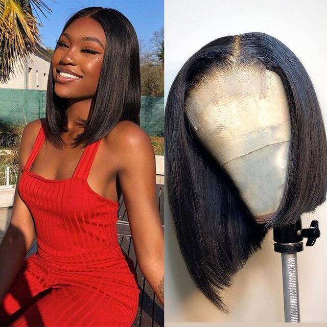 Jaycee 4x4 קצר בוב פאות תחרה סגירת פאה ישר שיער טבעי פאות עבור נשים שחורות 150% alipearl שיער Perruque cheveux Humain
