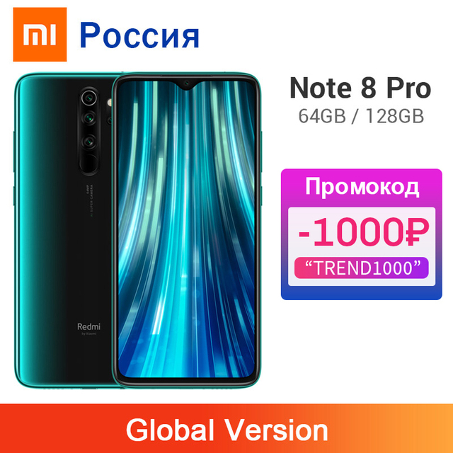 Global Version Xiaomi Redmi Note 8 Pro 6GB 128GB / 64GB 64MP Four Camera Smartphone NFC 4500mAh Helio G90T Octa Core Cellphone 1