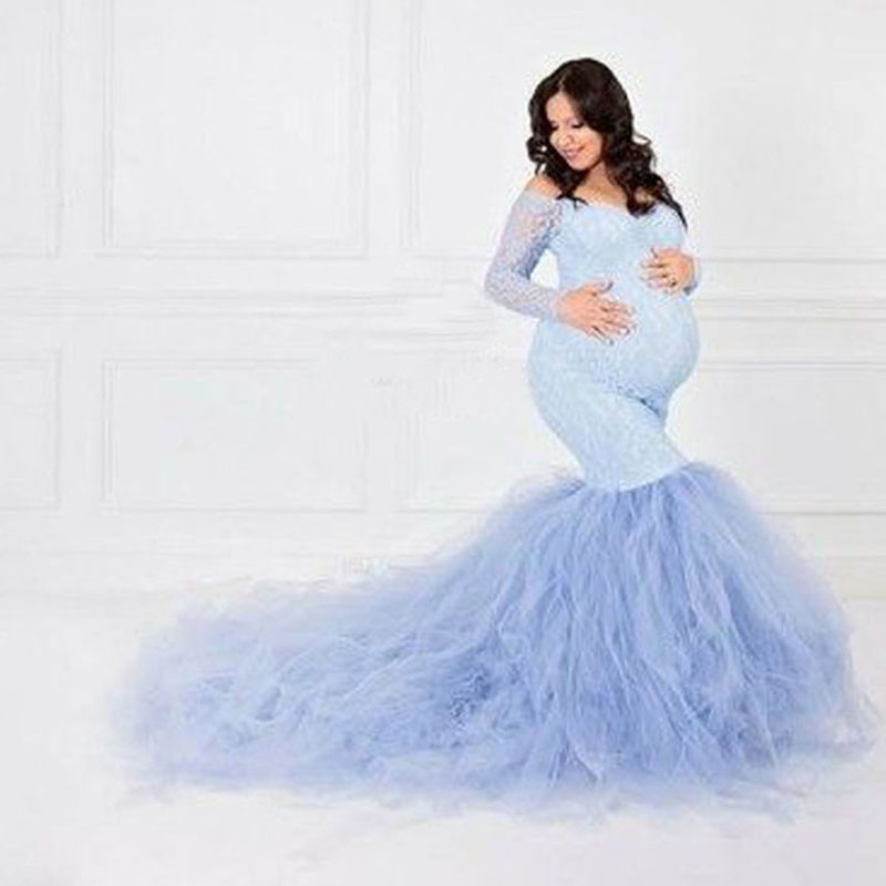 Fishtail Dresses Maternity Photography Props Clothes Pregnancy Photography Pregnant Dresses Maternity Dresses For Photo Shoot