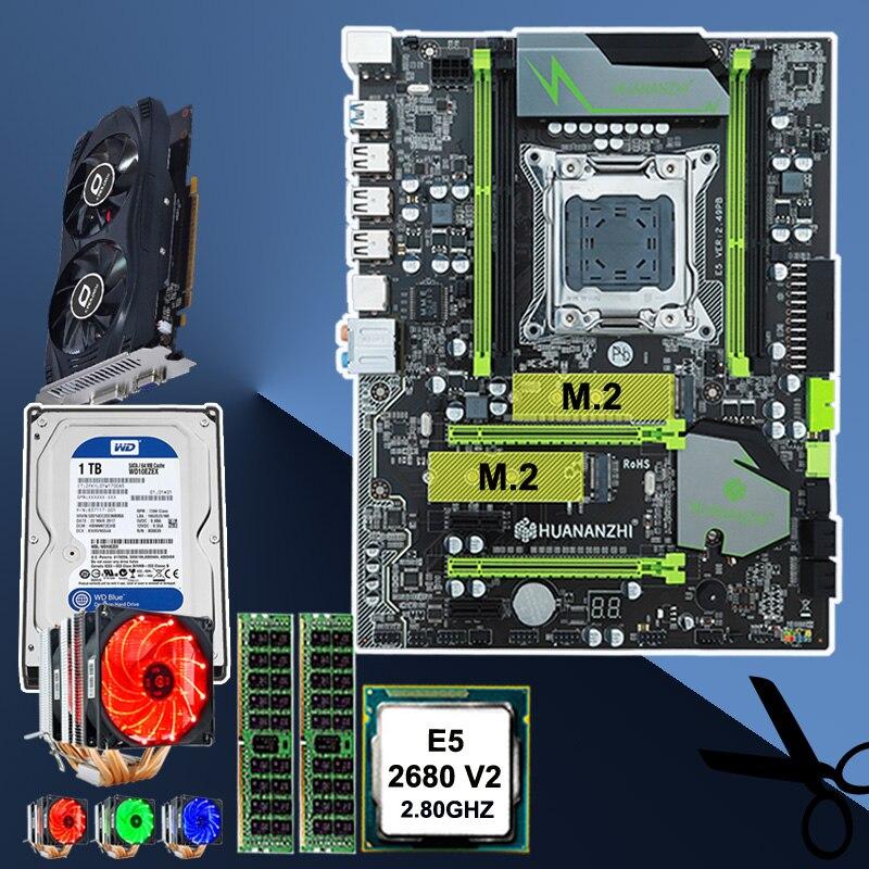 HUANAN ZHI X79 mainboard CPU Xeon E5 2680 V2 with 6 heatpipes cooler RAM 16G(2*8G) DDR3 RECC 1TB 3.5' SATA HDD GTX750Ti 2GD5 VC 1