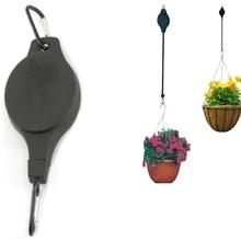 Черный выдвижной сад шкив корзина тянуть вниз подвешивание вешалка растение горшок крючки кашпо пластик держатель домочадец цветочный горшок