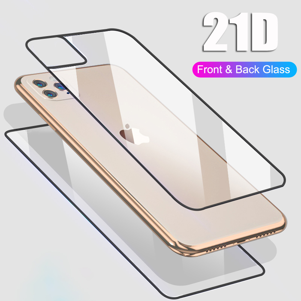 21D Front+Back Rear FullBody Temper Glass Film for iPhone 11 Pro Max Full Cover Shatterproof Temper Glass Screen Protector Guard