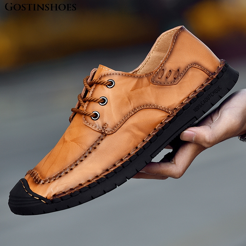Large Size 46 Casual Leather Shoes Genuine Leather Casual Shoes Low Top Men Loafers KPOCCOBKN Loafers Cowhide De