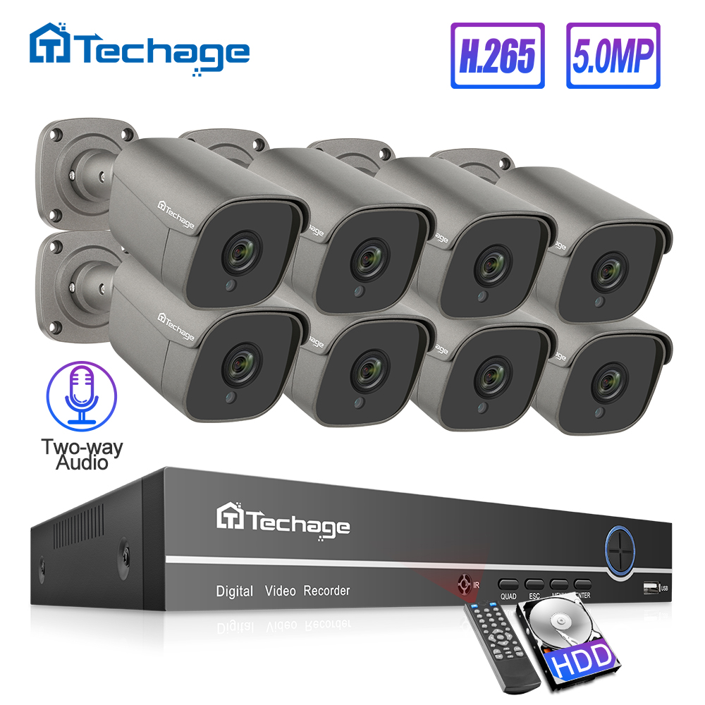 H.265 8CH 5MP HD POE NVR Kit CCTV System Two Way Audio Microphone AI IP Camera IR Outdoor P2P Video Security Surveillance Set