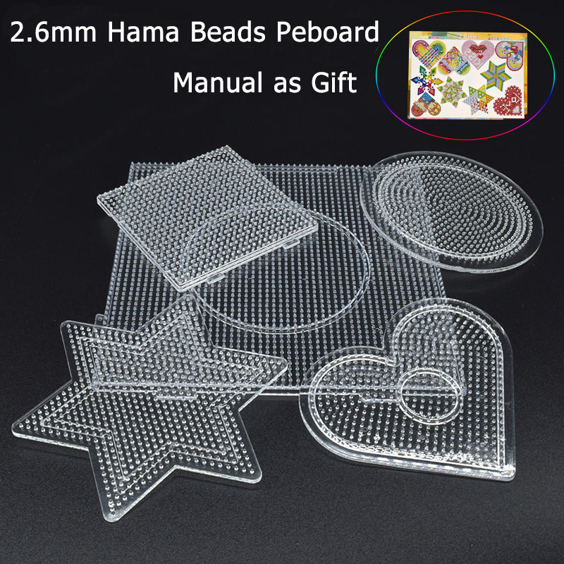 2.6mm hama beads pegboards set educational toys 5Pcs Mini hama beads template jigsaw puzzle Plastic Template Kids Plastic(China)
