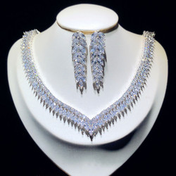 Fine Jewelry Sets For Women Sterling S925 Silver Cubic Zirconia Leaves Bridal Drop Earrings Necklaces Pendants Set High Quality