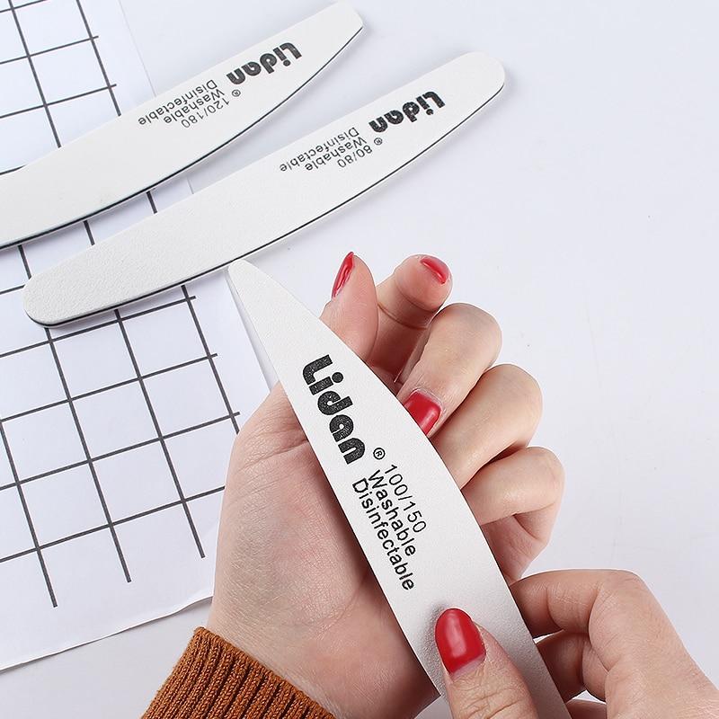 Lidan 5Pcs/Lot Double-sided Sandpaper Nail File 100/150 Sanding Buffer Block Pedicure Manicure Polish Professional Nail Tool