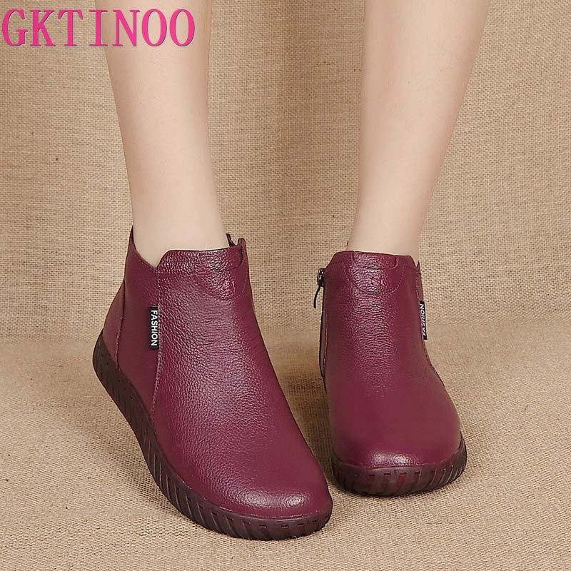 GKTINOO Vintage Handmade Genuine Leather Women Ankle Boots Casual Snow Boots Winter Ladies Flat Shoes Zip Rubber Botines Mujer