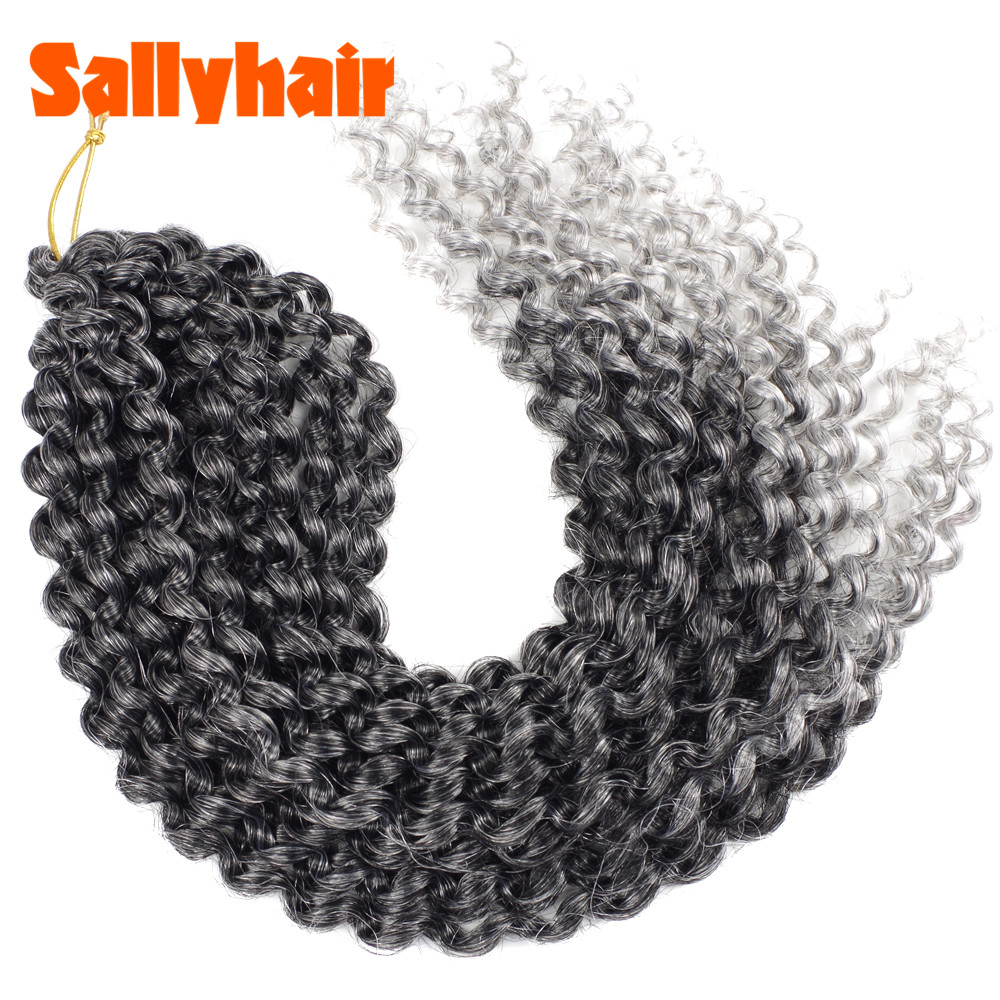 Sallyhair Passion Twist Fluffy Pre-Twist Crochet Braids Ombre Nubian Twists Synthetic Braiding Hair Extension Black Silver Grey image