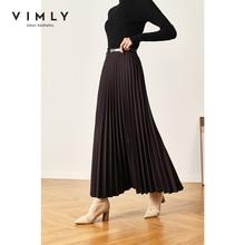 Vimly Spring Pleated Skirt For Women Fashion Solid High Waist Ankle-Length Skirts Office Lady Elegant Bottom Mujer Faldas F3715