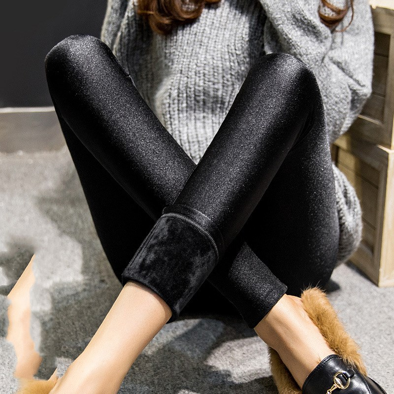 High Waist Sexy Lurex winter women warm velvet cashmere pants lady plus size thick pant black shine slim stretch capris trousers