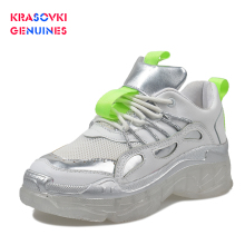 Krasovki Genuines Sneakers Women Spring Autumn Dropshipping Thick Bottom Crystal Muffin Breathable Fashion Leisure Shoes