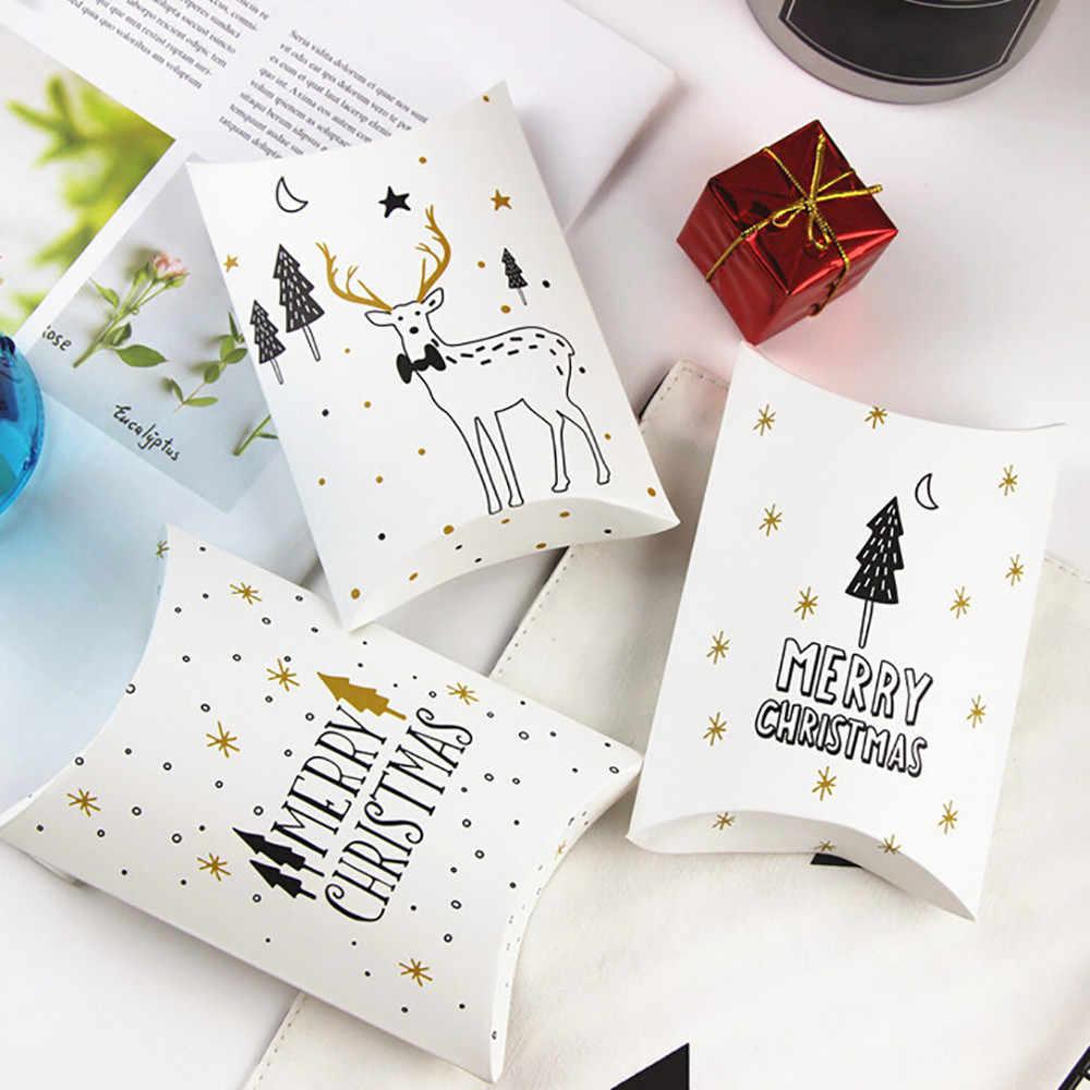 Frohe Weihnachten Süßigkeiten Geschenk Boxen Deer Weihnachten Baum Gäste Verpackung Boxen Geschenk Tasche Weihnachten Party Favors Kinder Geschenk Tasche