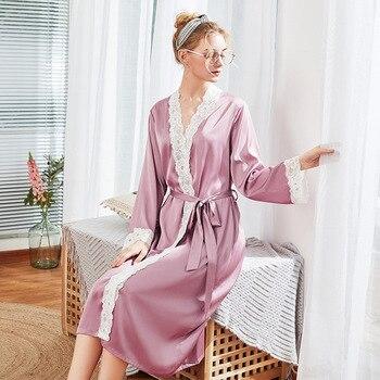 Mid-calf Lace Bridesmaid Robes Customizable Silk Satin Bride Robes Pajamas