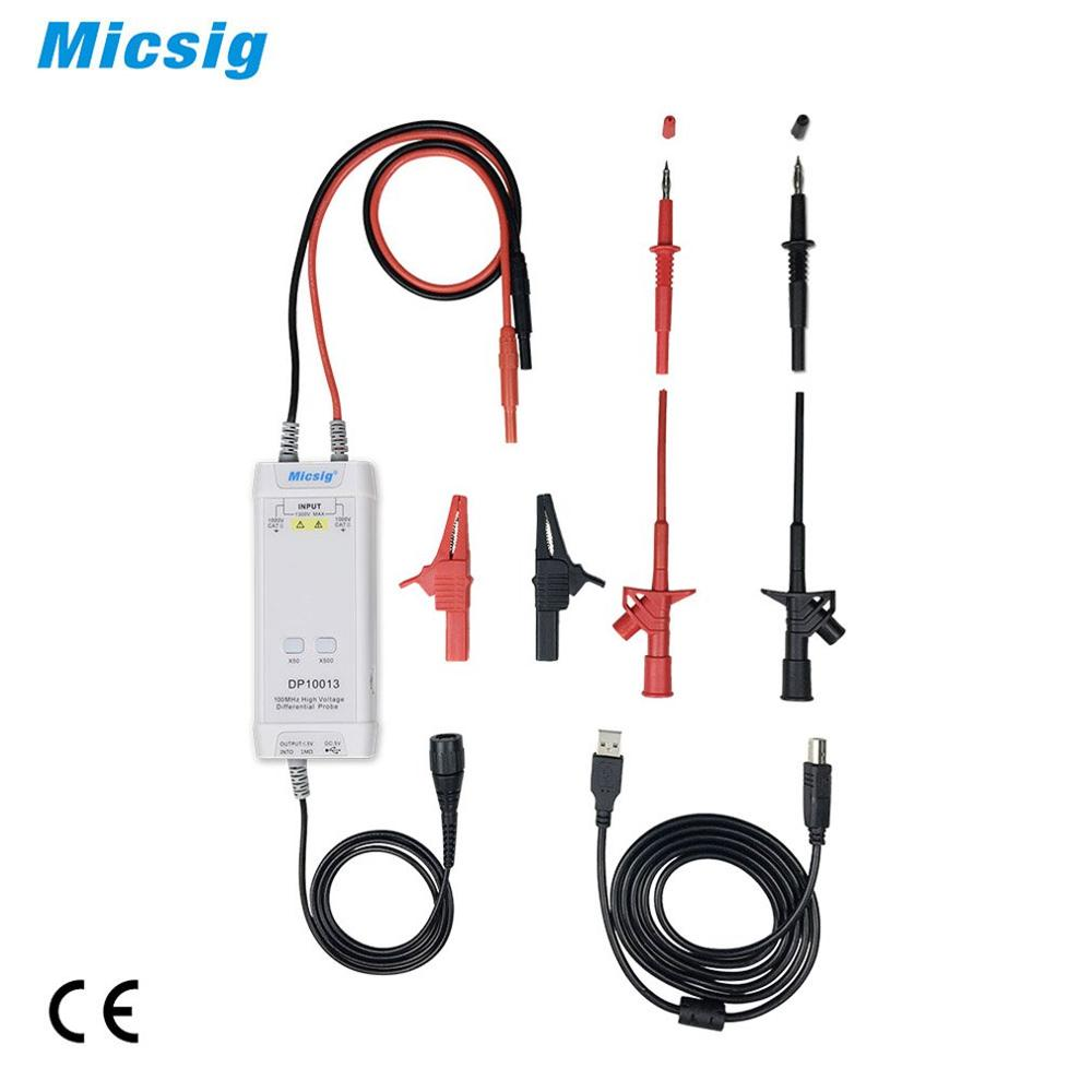 Micsig Oscilloscope 1300V 100MHz High Voltage Differential Probe Kit 3 5ns Rise Time 50X 500X Attenuation Rate DP10013 Hot salli