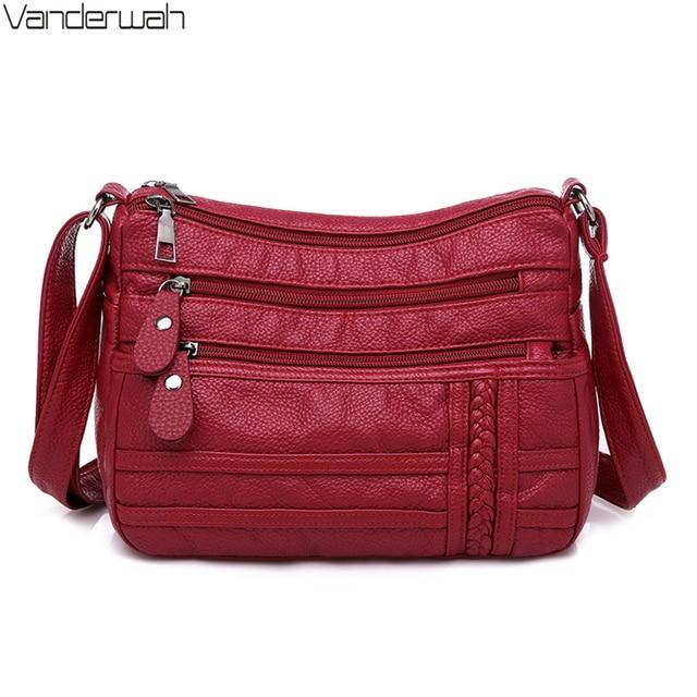 Ladies Multi pocket Messenger Bag High Quality Soft PU Leather Shoulder Bags Casual Crossbody Bags for Women 2020 Bolsa Feminina