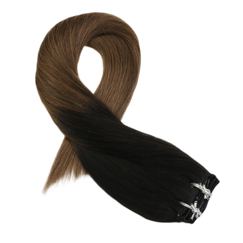 Moresoo Clip In Human Hair Extensions Real Remy Brazilian Human Hair Off Black #1B Fading To Light Brown #8  5Pcs/70G 12-14 Inch