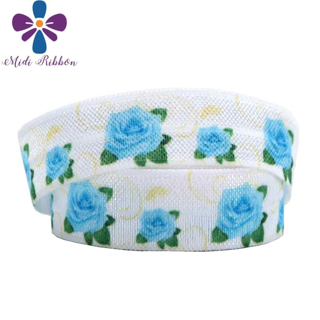 """5/8""""16mm Flower Series Red Blue Rose Printed Fold Over Elastic Ribbon Colorful Dots DIY Hair Bowknots Gift Packing 50yards/roll"""
