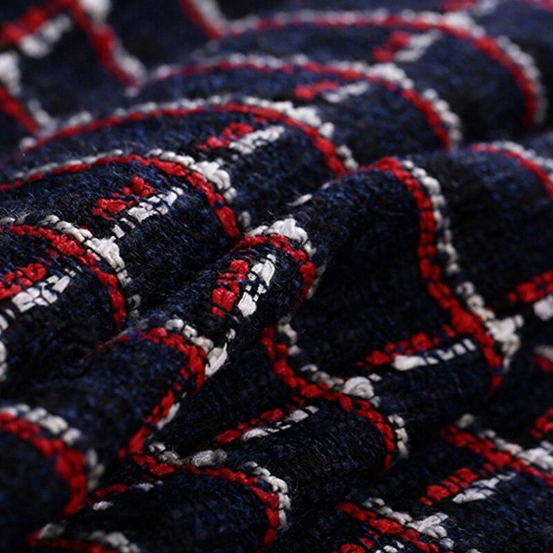 150CM de large 520 G/M poids bleu rouge Check Tweed tricoté laine et acrylique et Polyester tissu pour automne printemps robe veste E1192