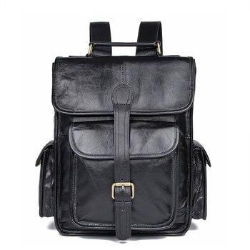 Bagpack Genuine Leather Laptop Backpack Men Schoolbag  Men's Bag 7283C-1/7283A