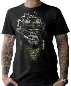 Biker T Shirt goryl Monkey motor Chopper Bobber Old School męska S-3XL dla młodzieży w średnim wieku stara koszulka