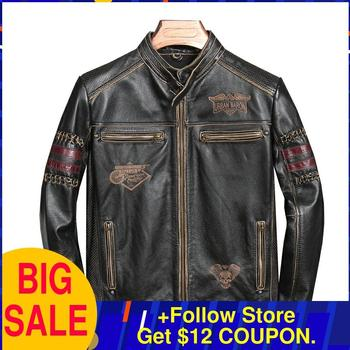 цена на 2020 Vintage Black Motorcycle Style Genuine Leather Jacket Men Plus Size XXXL Genuine Cowhide Autumn Slim Fit Biker's Coat