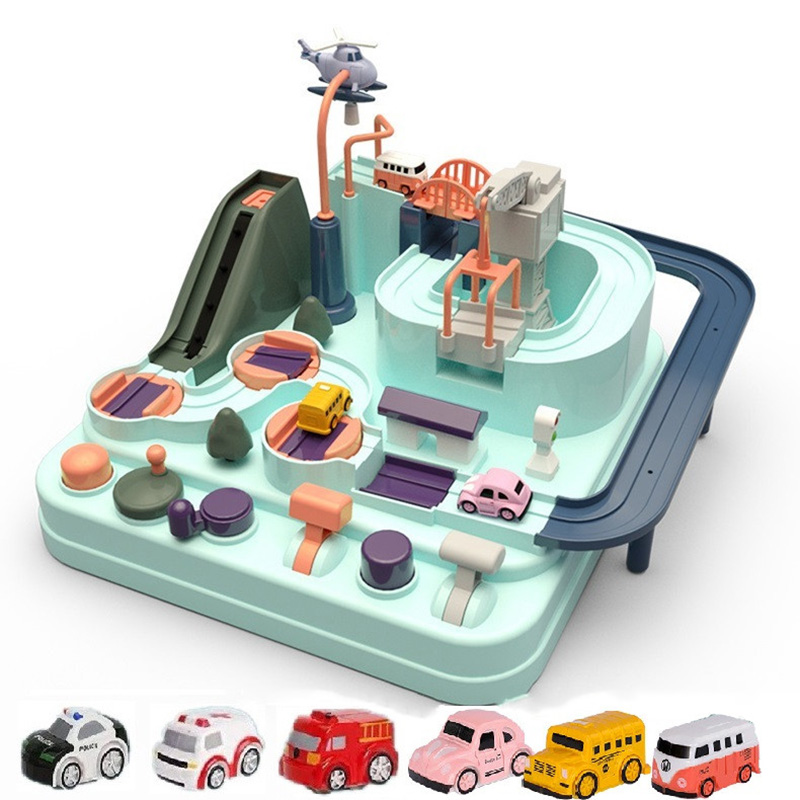 Education Railcar Toy Eco-Friendly Baby Adventure Toy Car Macaron Color Table Games Boy and Girl Puzzle Toys Christmas Gift