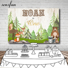 Sensfun Woodland Baby Shower Backdrops Forest Animal Birthday Party Backdrop Photography Prop Photo Background 7x5ft Vinyl