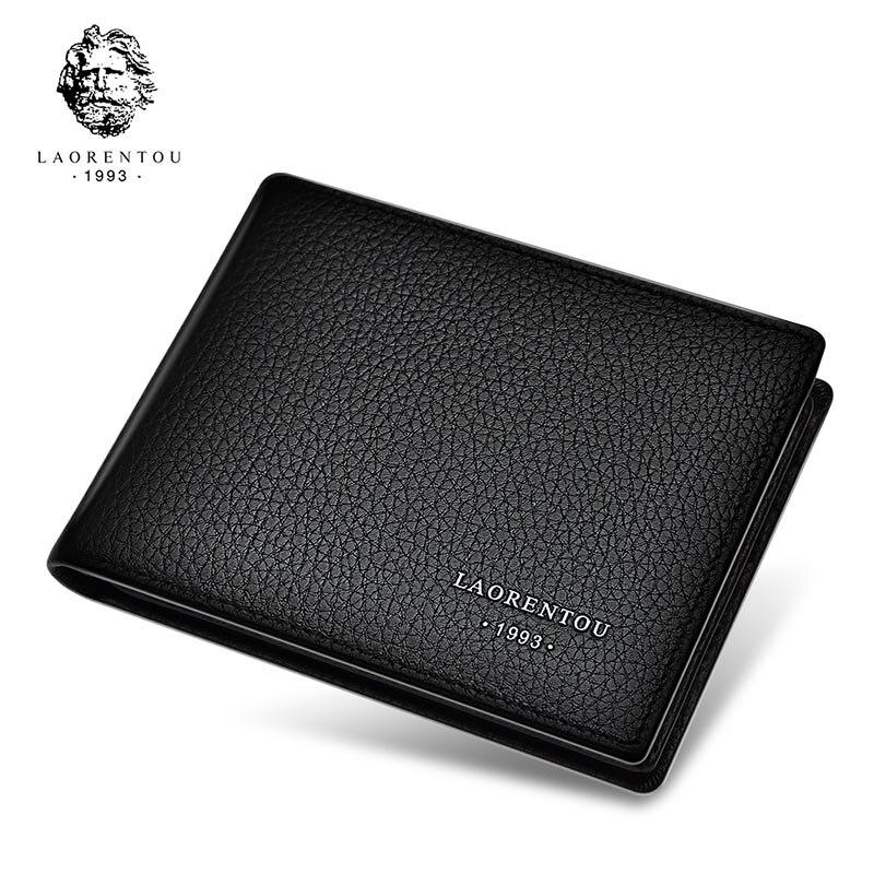 Laorentou Genuine Leather Men's Wallets Driver's License Holder Vintage Casual Leather Purse Card Case Slim Wallet For Men