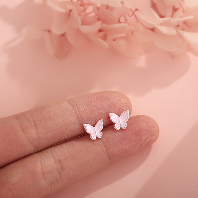 Fashion 925 Sterling Silver Earrings Lovely Enamel Pink Butterfly Earrings For Women Girls Gift Ear Studs Popular Jewelry in Earrings from Jewelry Accessories