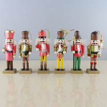6 Pcs Wooden Doll Soldier Puppet Vintage Handcraft Decoration Christmas Gifts Tree Pendant Figurine