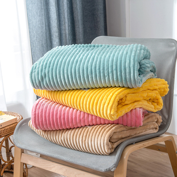 Super Soft Quilted Flannel Blankets For Beds Solid Striped Mink Throw Sofa Cover Bedspread Winter Warm - discount item  24% OFF Home Textile