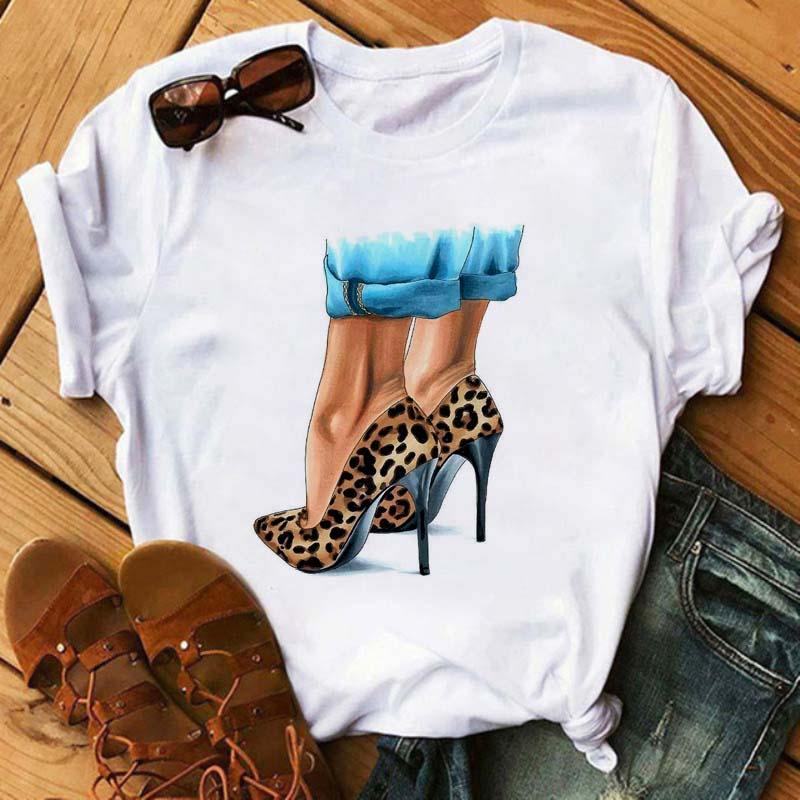 Maycaur новый лодочки на высоком каблуке леопардовые летние туфли, слипоны, с принтом Vogue футболка Для женщин Femme забавная футболка Для женщин 90s...