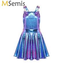 Женское блестящее металлическое голографическое платье Rave, праздничные костюмы, одежда для ночного клуба, певицы, танцевальная одежда, блестящие платья