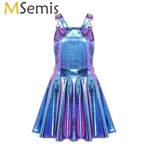 Image 1 - Robe holographique métallique métallique pour femmes, tenue de Festival, tenue brillante, boîte de nuit, danse de chanteur, à bretelles